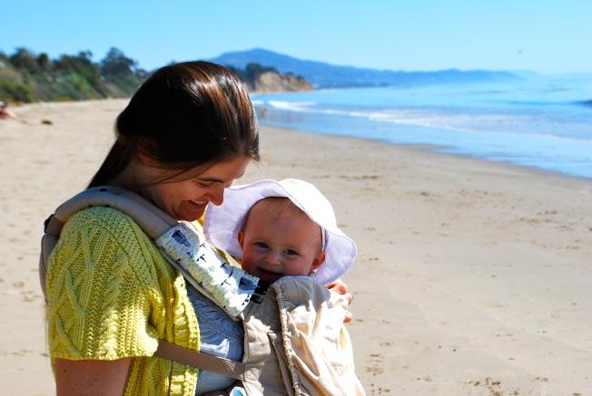 mama on the beach