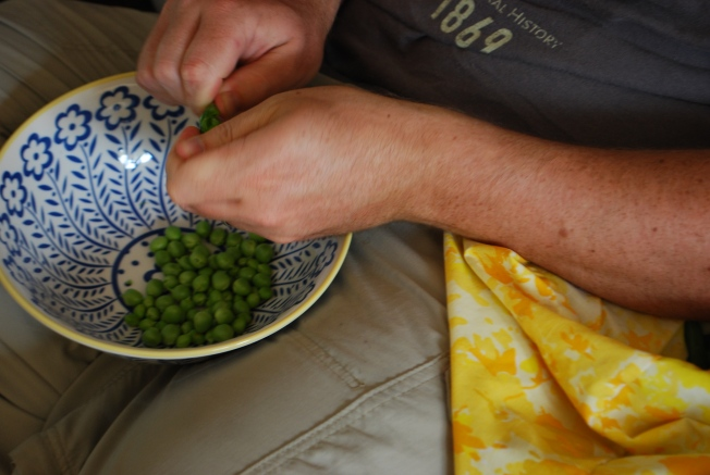 shucking peas