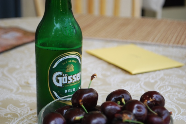 cherries and beer