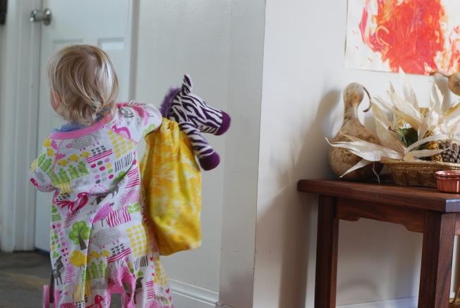 in her housecoat